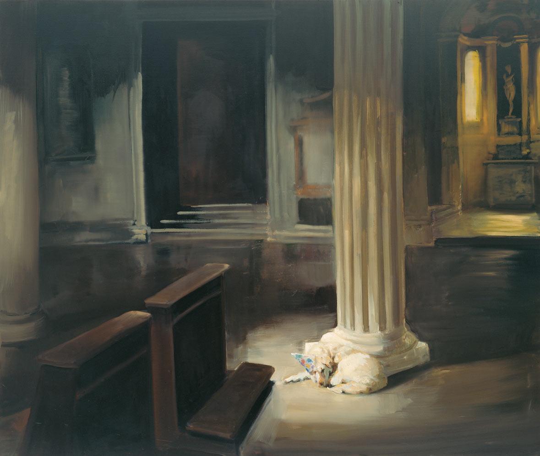 Dog in God House, 1997. Oil on linen. 55 x 65 in. (140 x 165 cm.)