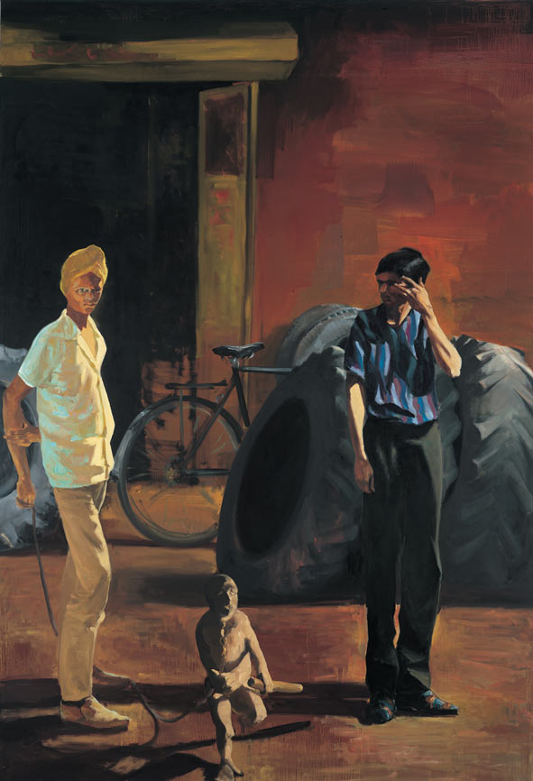 The Tire Store, 1989. Oil on linen. 109 x 75 in. (277 x 191 cm.)