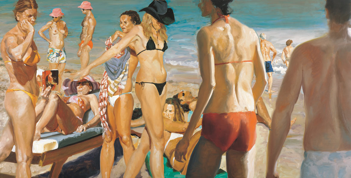 Beach Scene With Pink Hat, 2006. Oil on linen. 55 x 108 in. (140 x 274 cm.)