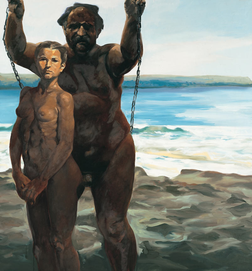 Untitled (Man on Swing), 1992. Oil on Linen. 58 x 54 in. (147 x 137 cm.)