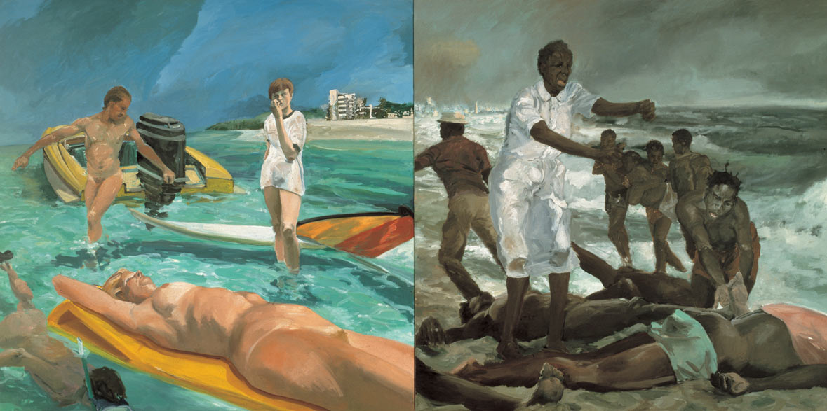 A Visit to/A Visit From/The Island, 1983. Oil on Canvas, 2 panels. 84 x 168 in. (213 x 427 cm.)