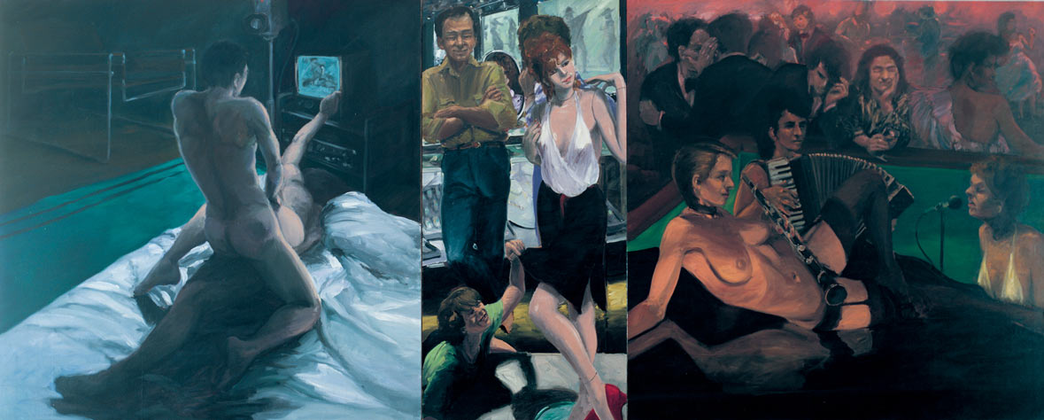 Inside Out, 1982. Oil on Canvas, three panels. 72 x 178 in. (183 x 452 cm.)