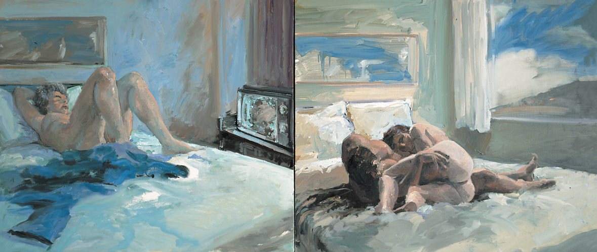 Motel, 1984. Oil on Canvas, two panels. 46 x 84 in. (117 x 213 cm.)
