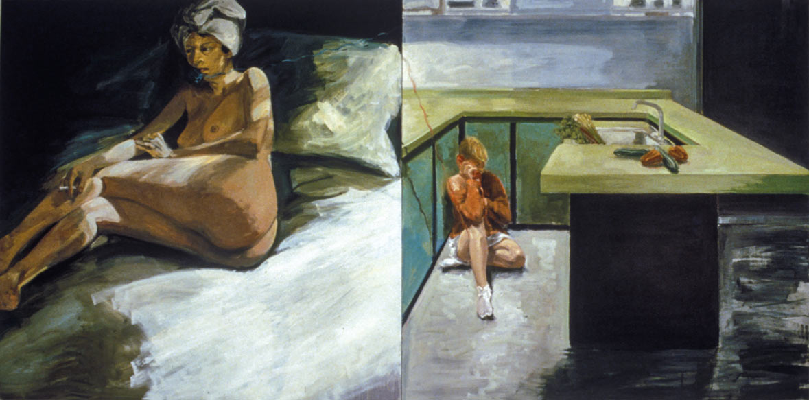 "Salad Days (from ""The Rooms of the House""), 1985. Oil on Canvas, two panels. 84 x 168 in. (213 x 427 cm.)"