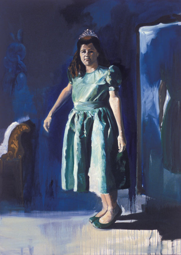 The Green Dress, 1987. Oil on linen. 94 7/8 x 67 7/8 in. (241 x 172 cm.)