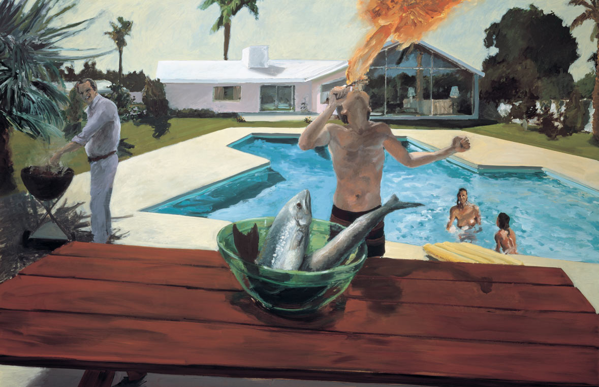 Barbeque, 1982. Oil on Canvas. 65 x 100 in. (165 x 254 cm.)
