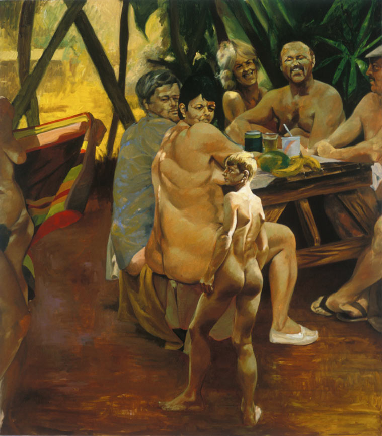 Nick's Picnic, 1992. Oil on linen. 98 x 86 in. (249 x 218 cm.)