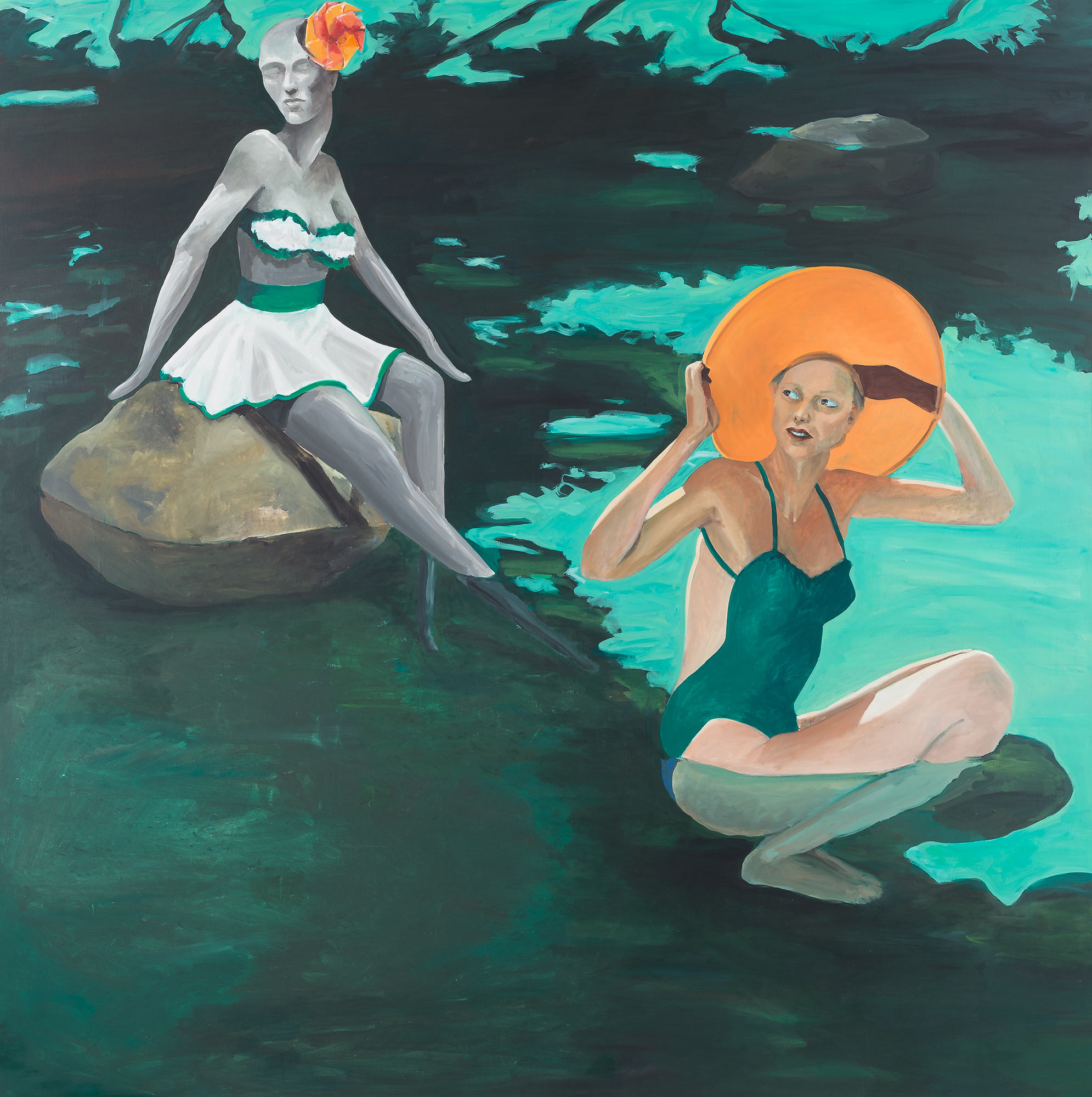 Women in Water (A Question of Fashion), 1980. Oil on Canvas. 90 x 90 in. (229 x 229 cm.)