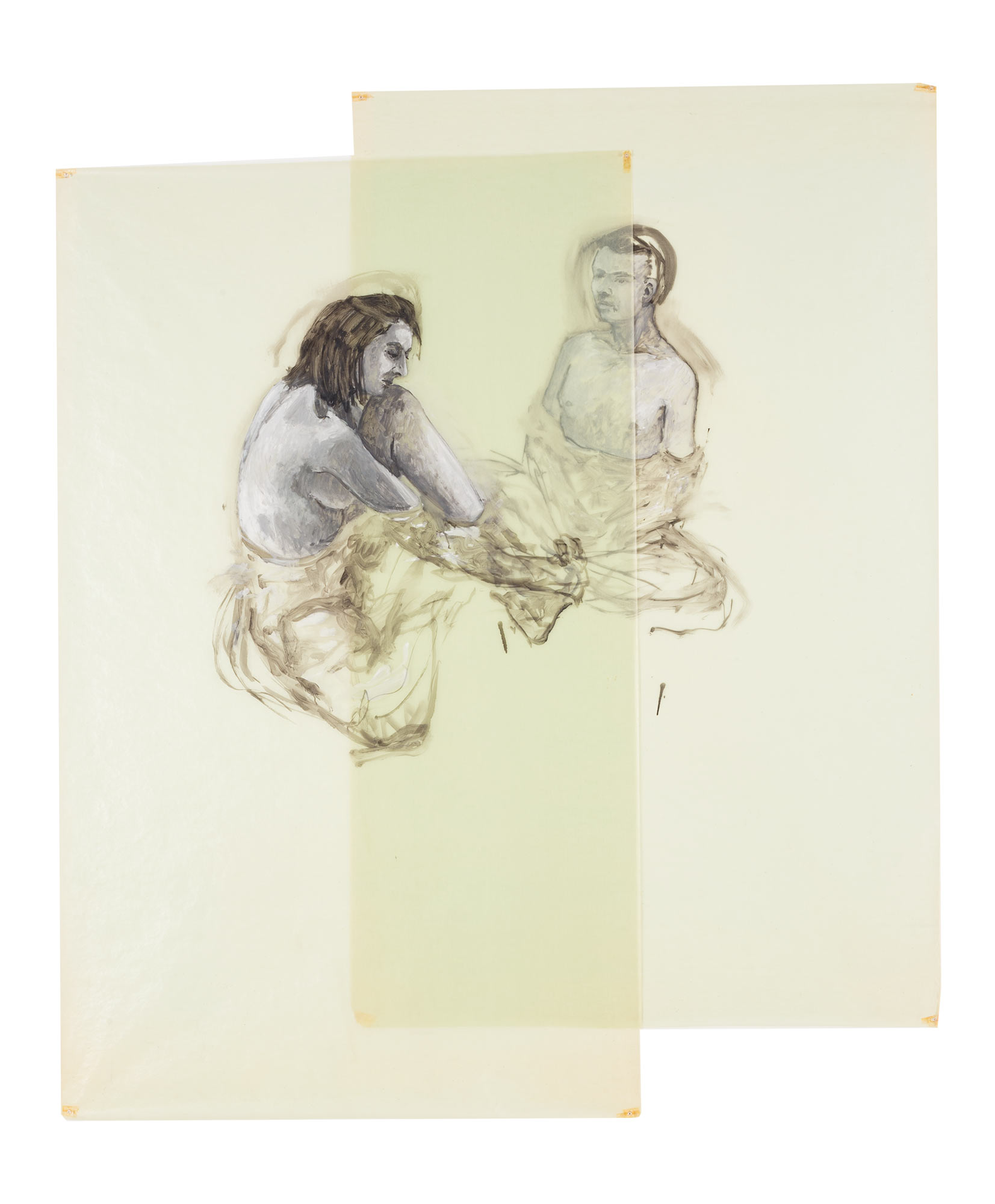 Two Girls Sitting in Water, 1980. Oil on Glassine. 84 x 72 1/4 in. (213 x 184 cm.)
