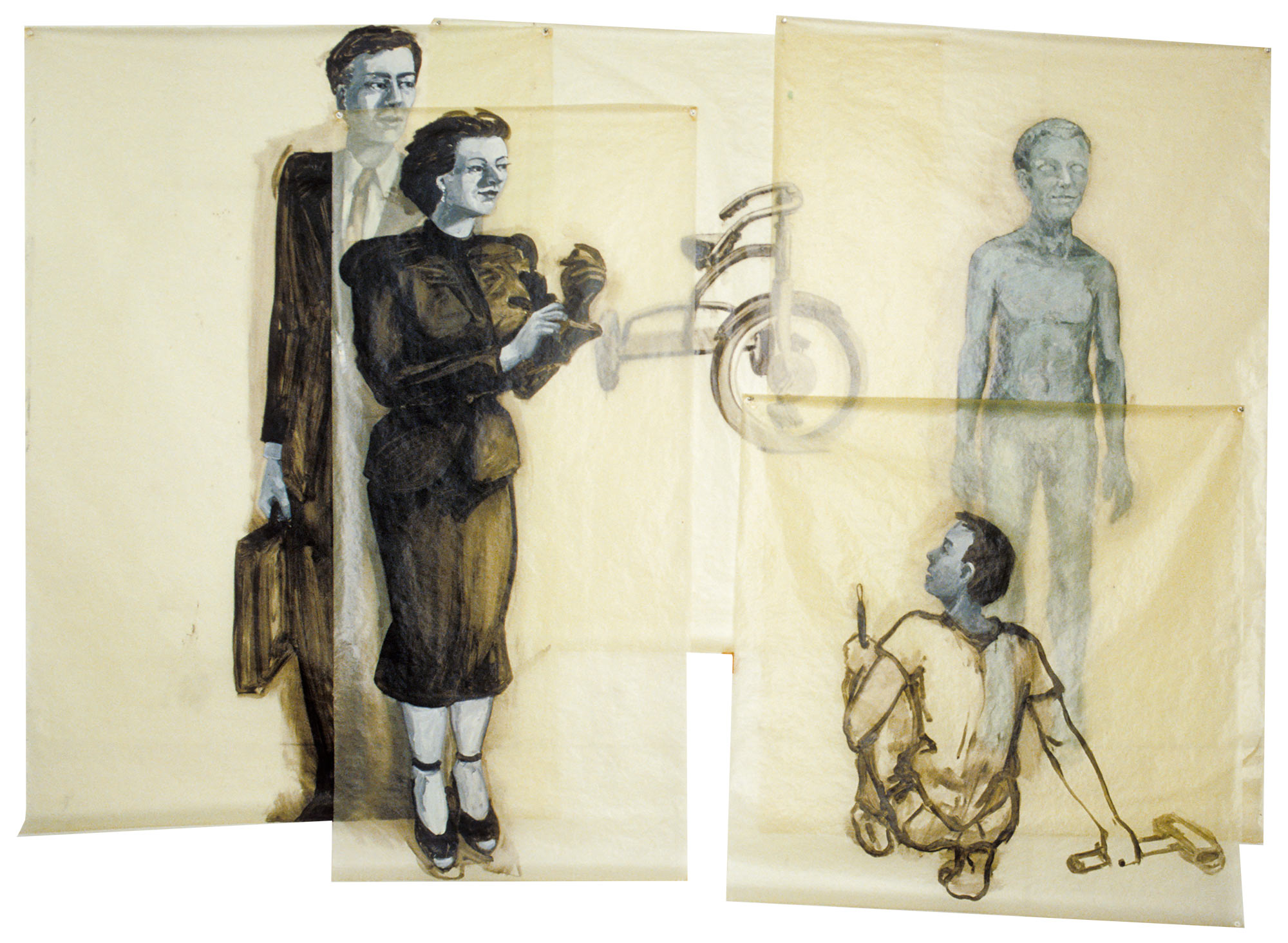 The Critics, 1979. Oil on Glassine. 72 x 121 in. (183 x 307 cm.)