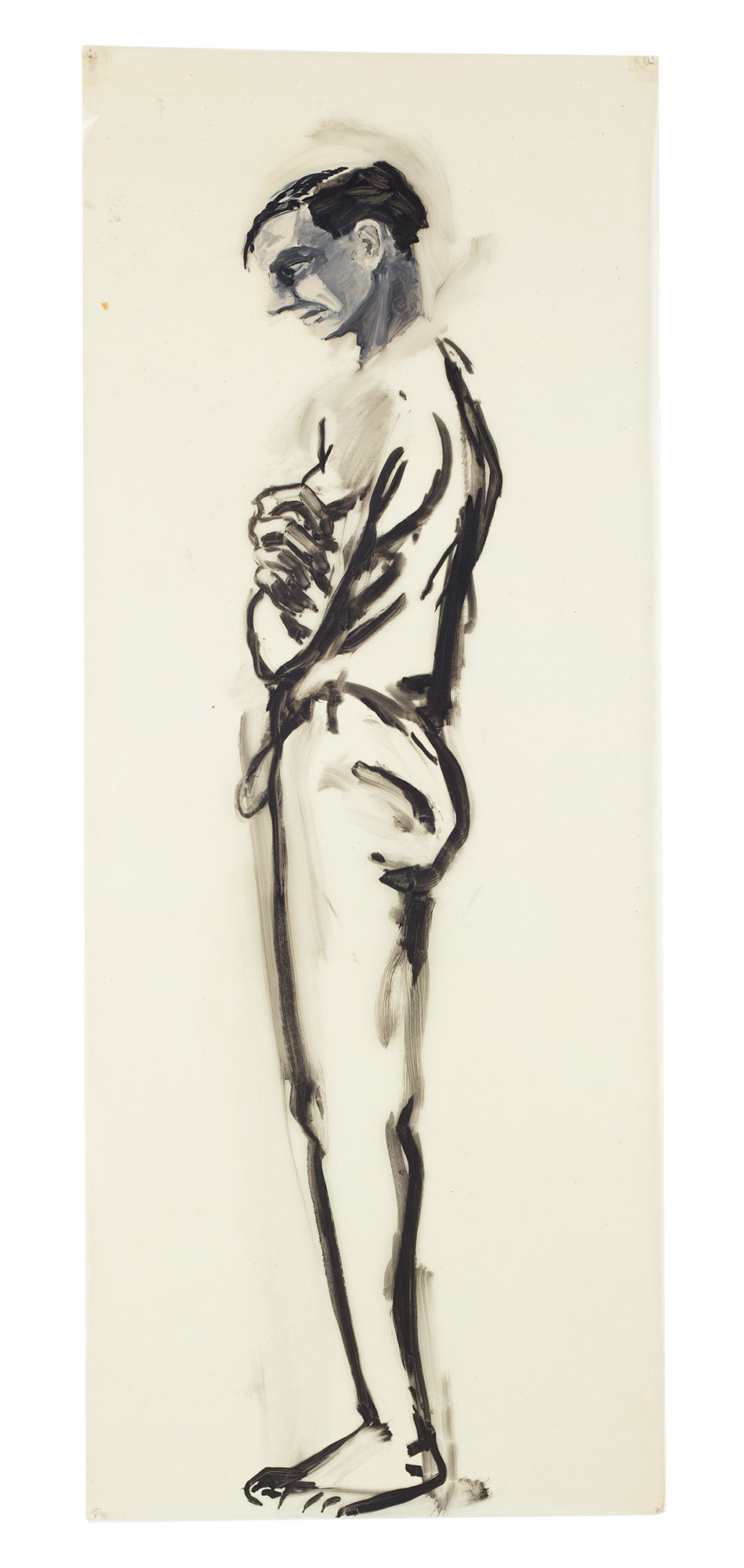(standing man), 1978. Oil on Glassine. 60 x 24 in. (152 x 61 cm.)