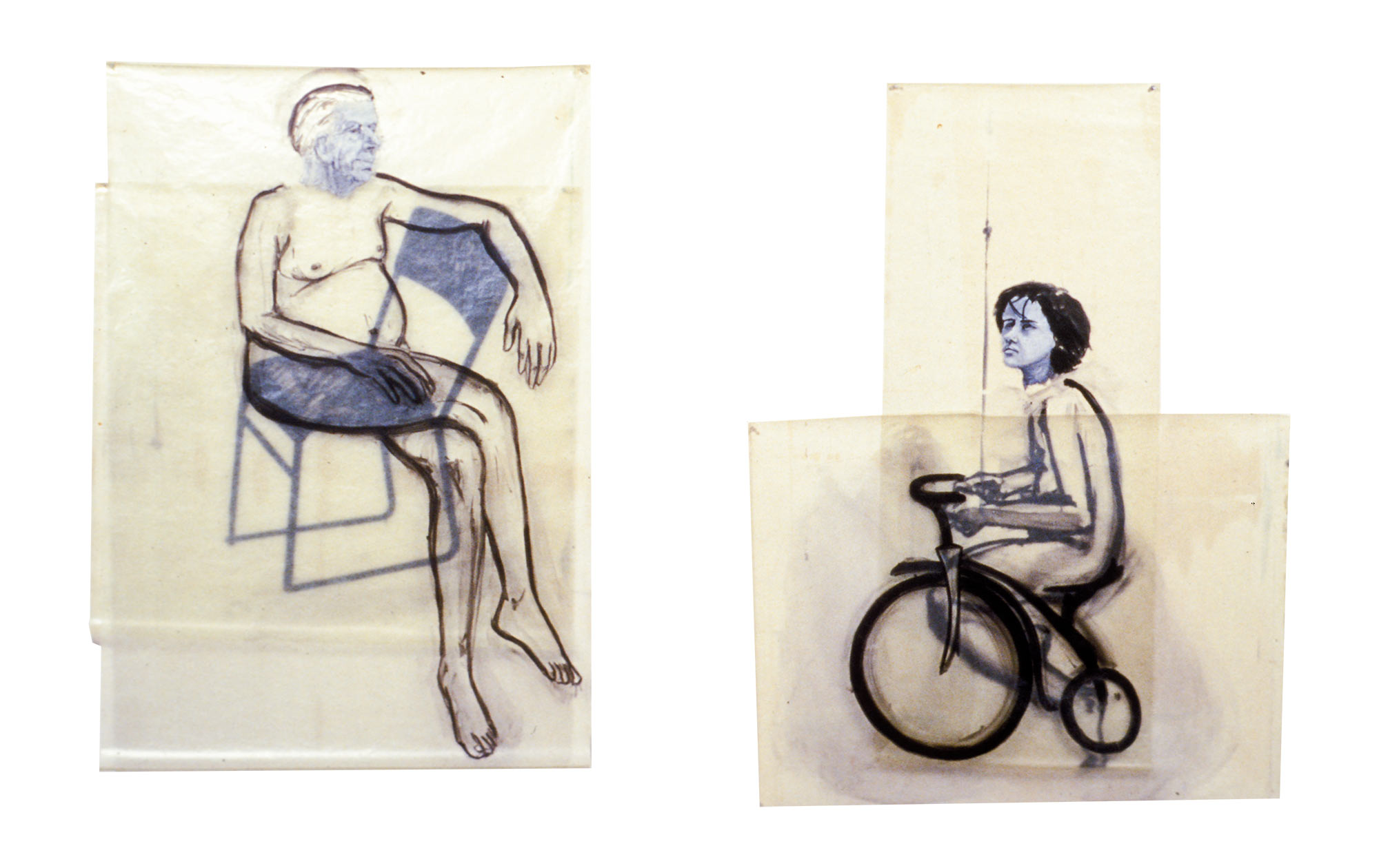 Sitting/Riding, 1978. Oil on Glassine.