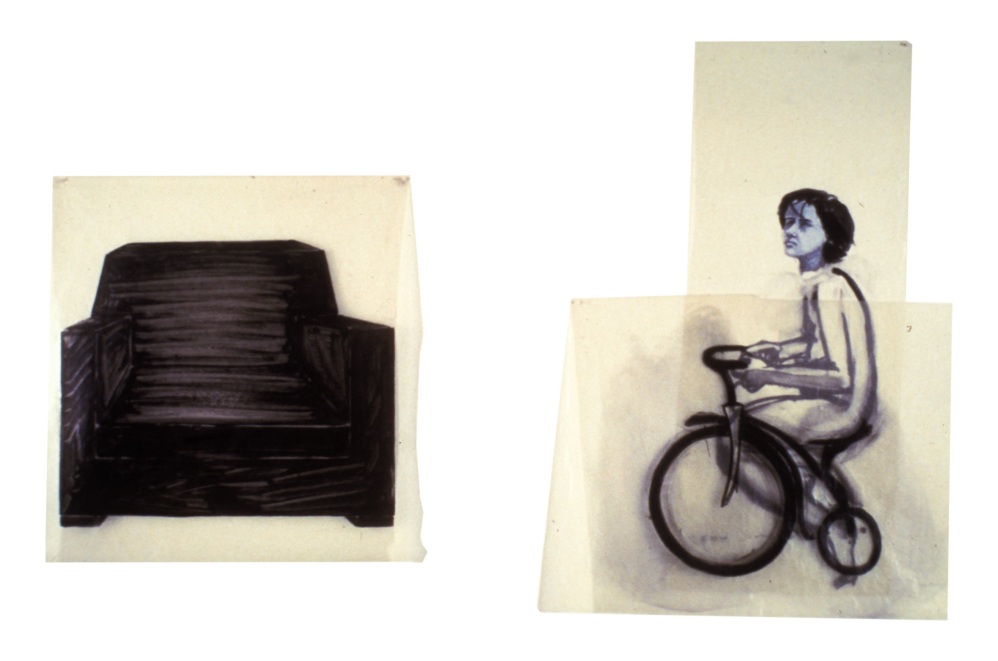 Family (boy on tricycle and chair), 1977. Oil on Glassine.