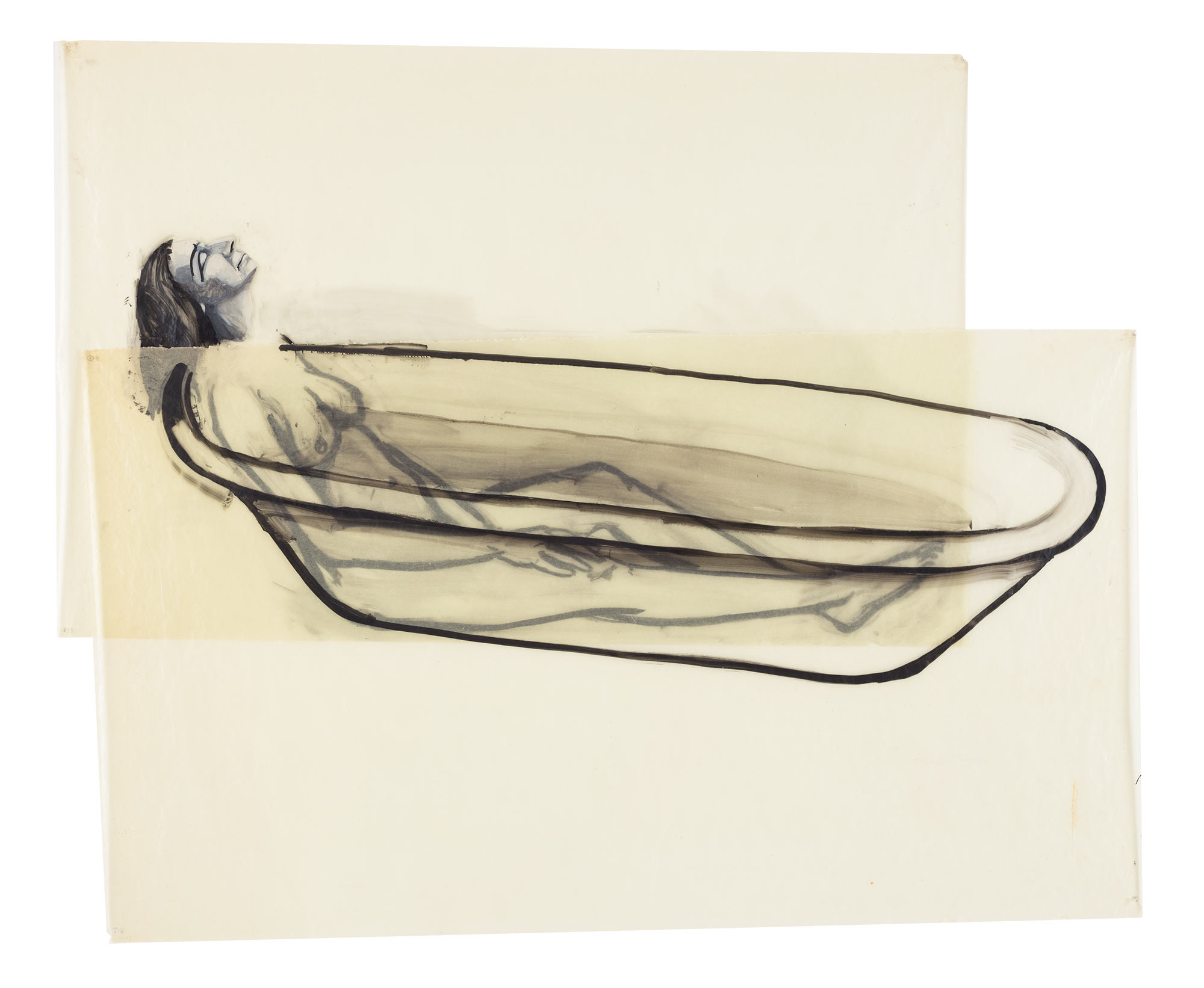 1st Woman in Water, 1977. Oil on Glassine. 63 x 76 1/2 in. (160 x 194 cm.)