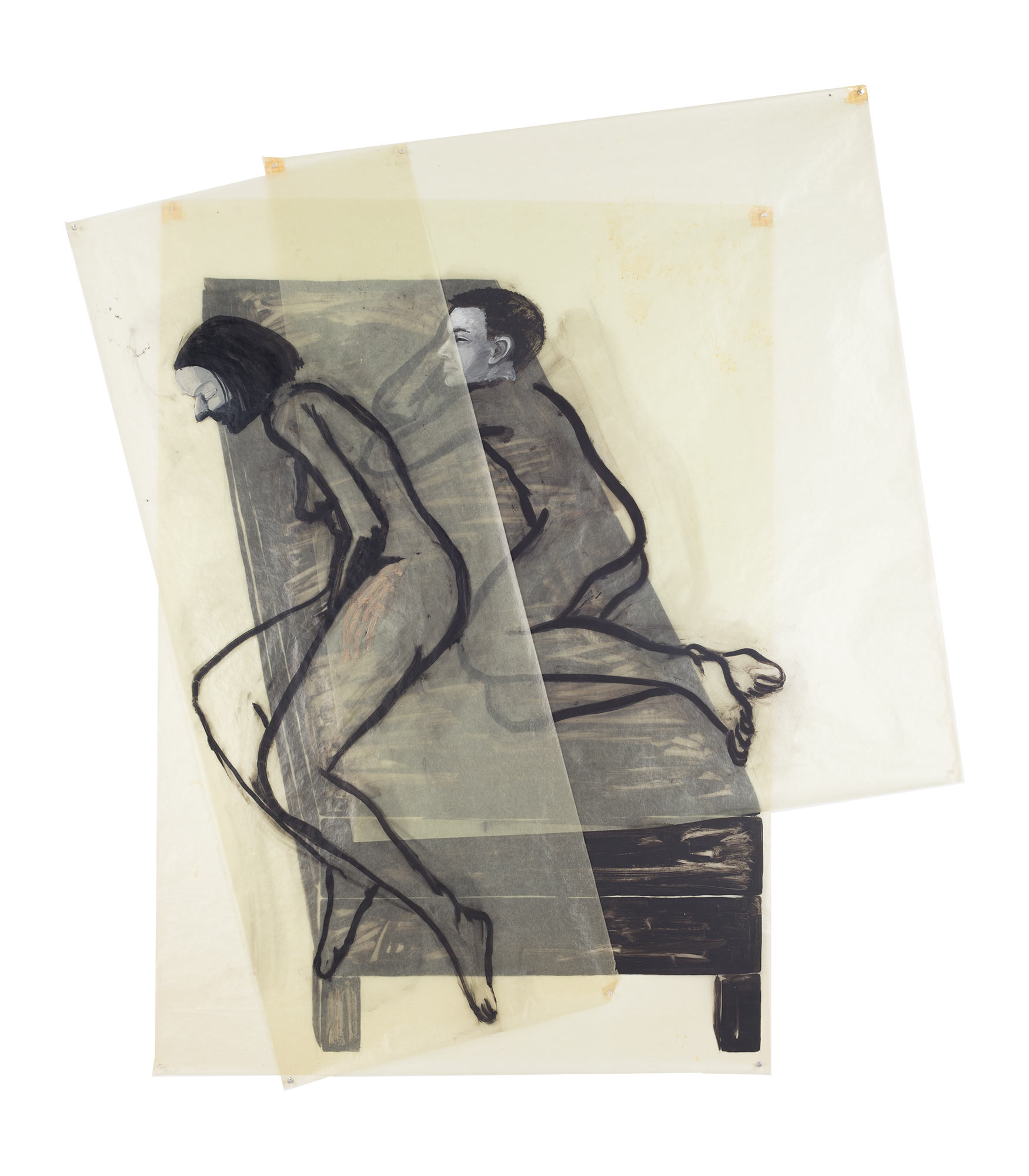 Brother and Sister on Bed, 1977. Oil on Glassine. 67 x 59 in. (170 x 150 cm.)