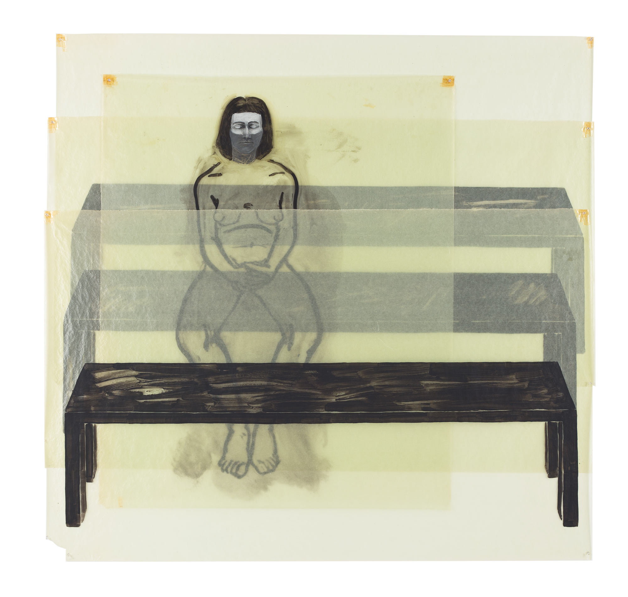 Praying Daughter, 1977. Oil on Glassine. 63 x 66 in. (160 x 168 cm.)