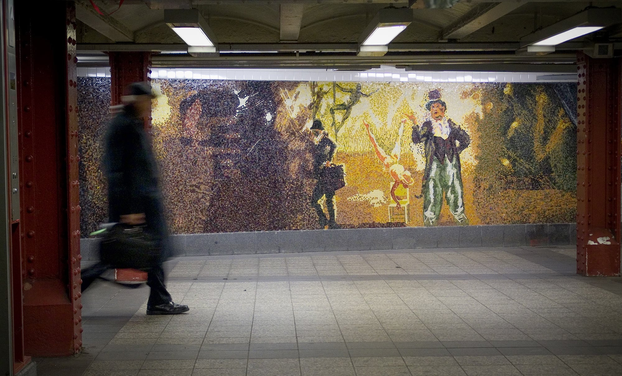 Garden of Circus Delights, 2001, glass mosaic.  34th St. Penn Station (main wall), 72 x 60ft