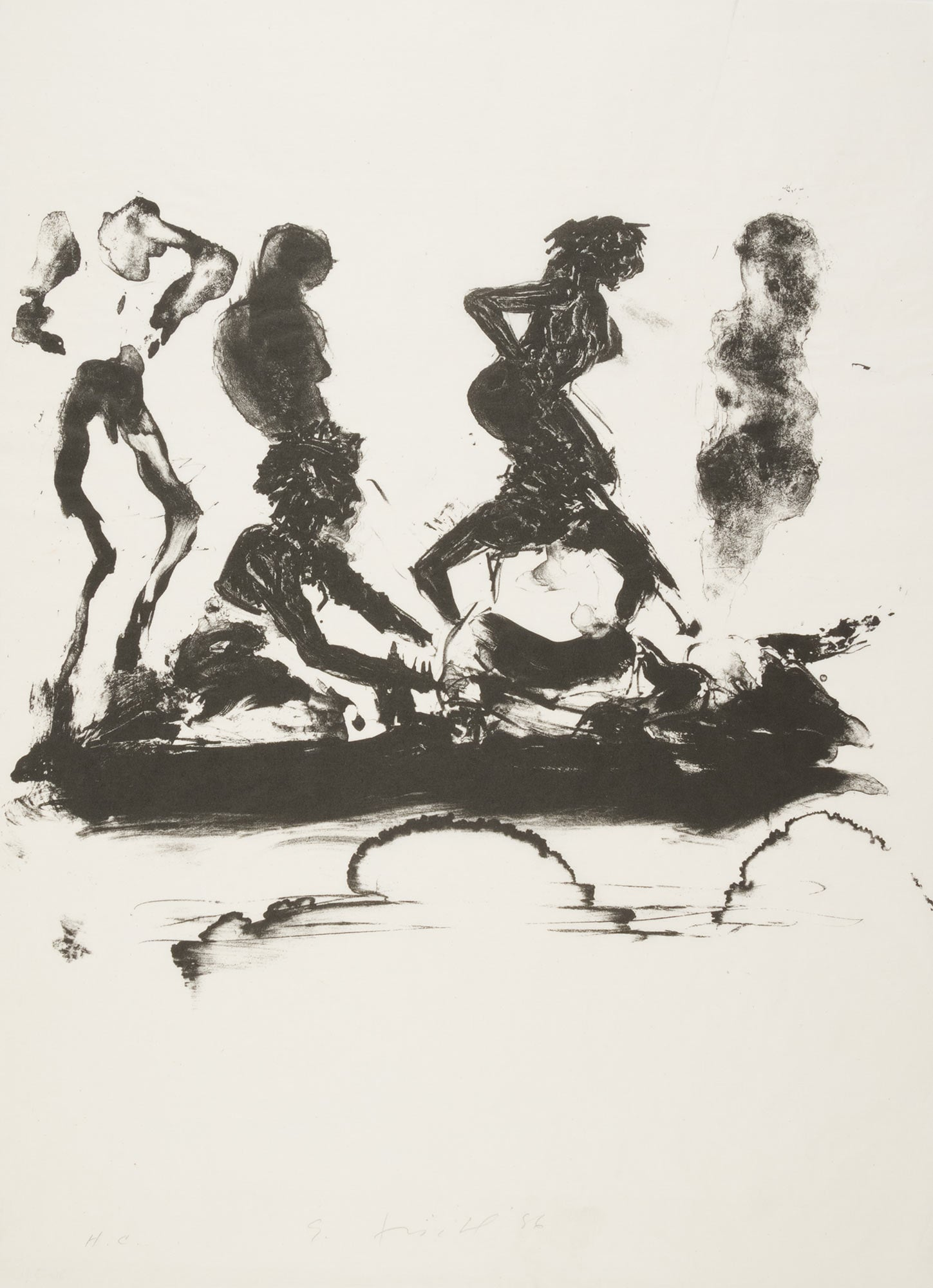 Annie, Gwen, Lillie, Pam and Tulip (group silouette), 1986.