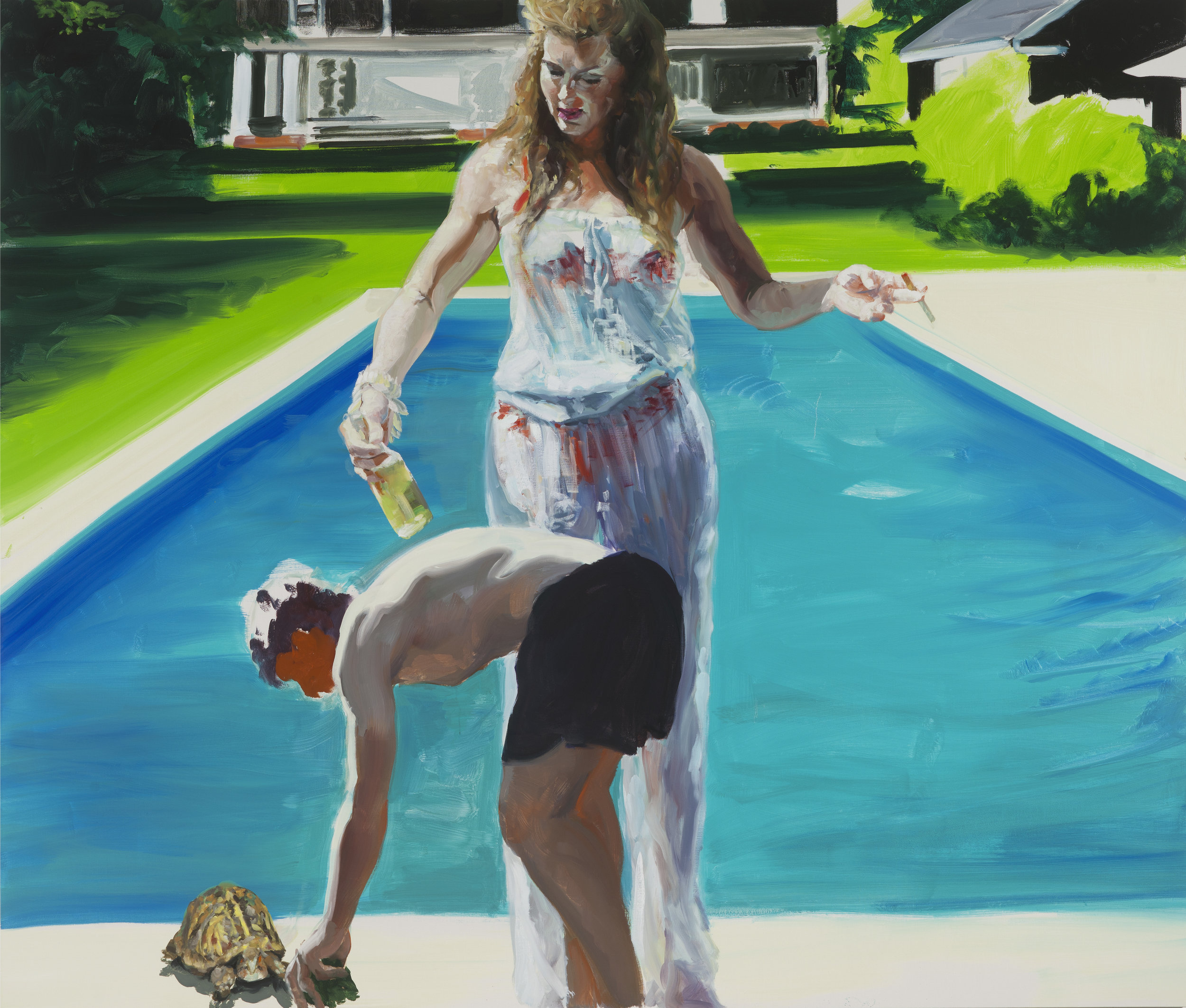 Feeding the Turtle, 2016. Oil on Linen. 66 x 78 inches.