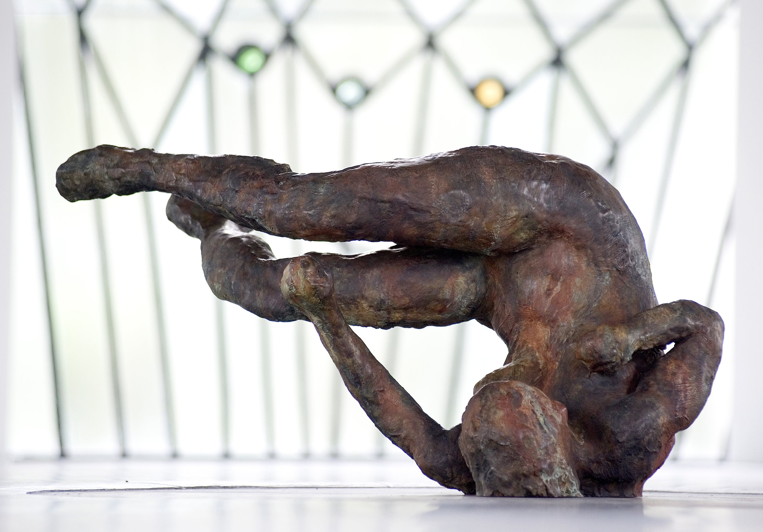 Tumbling Woman II, 2007, Bronze, 25 1/2 x 47 1/2 x 26 in (Installed at Bohm Chapel, Jablonka Gallerie)