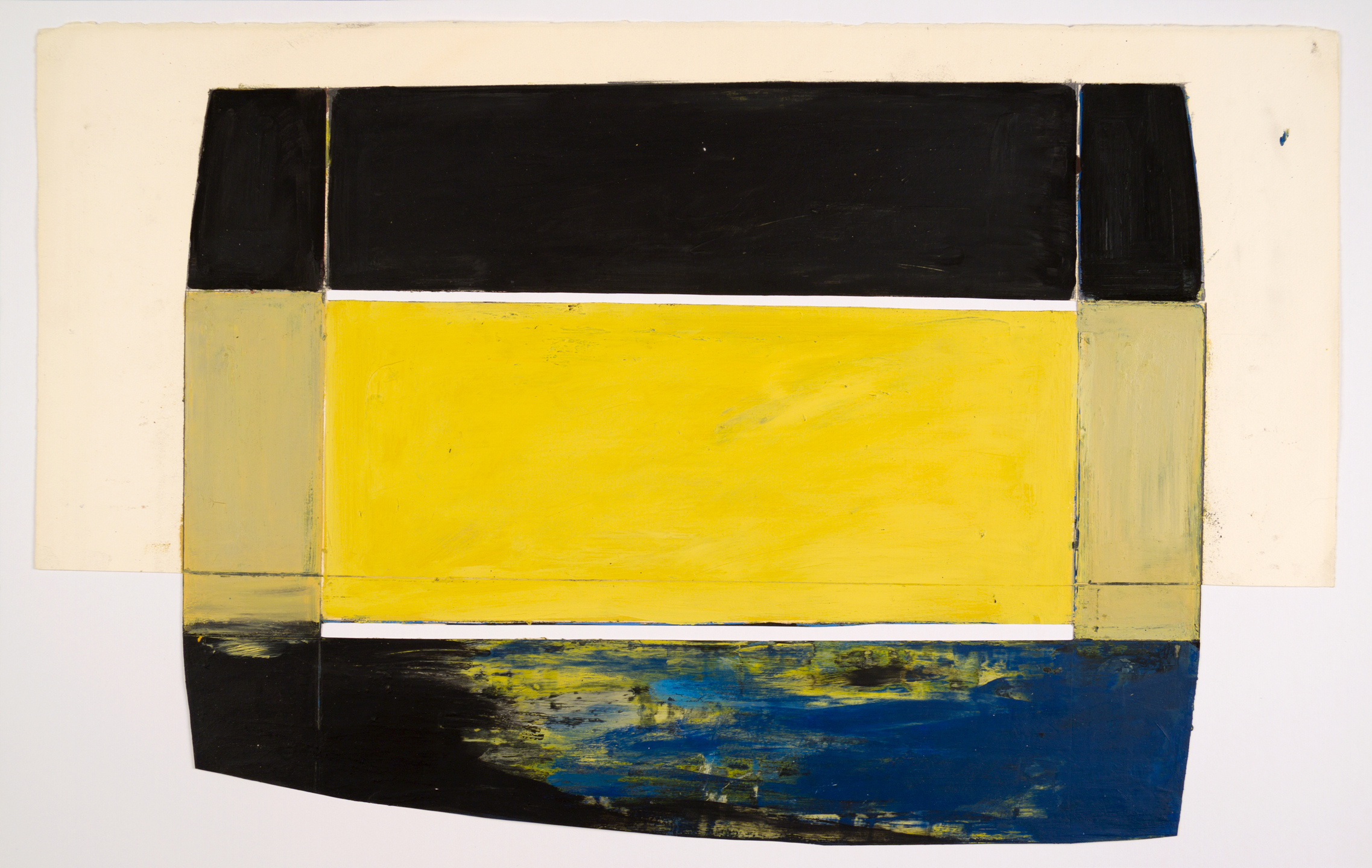 Bridge, 1975, oil and wax on paper 13 x 22 in.