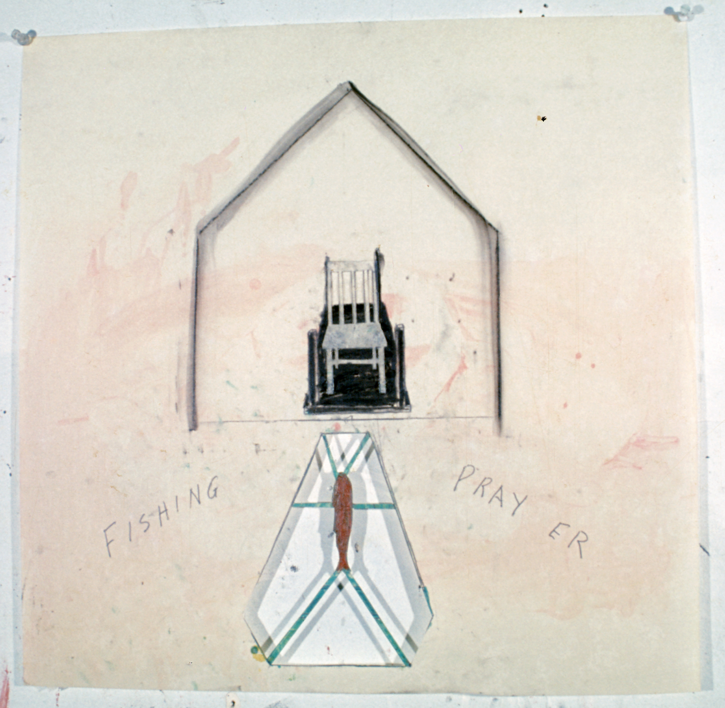 Untitled (Fishing Pray er), 1976. mixed media on paper, 21 3/4 x 21 3/4 in.