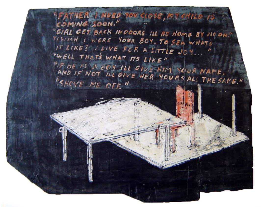 Mural Study (Father/Daughter House), 1976. oil on board waxed, 15 1/2 x 19 1/2 in.