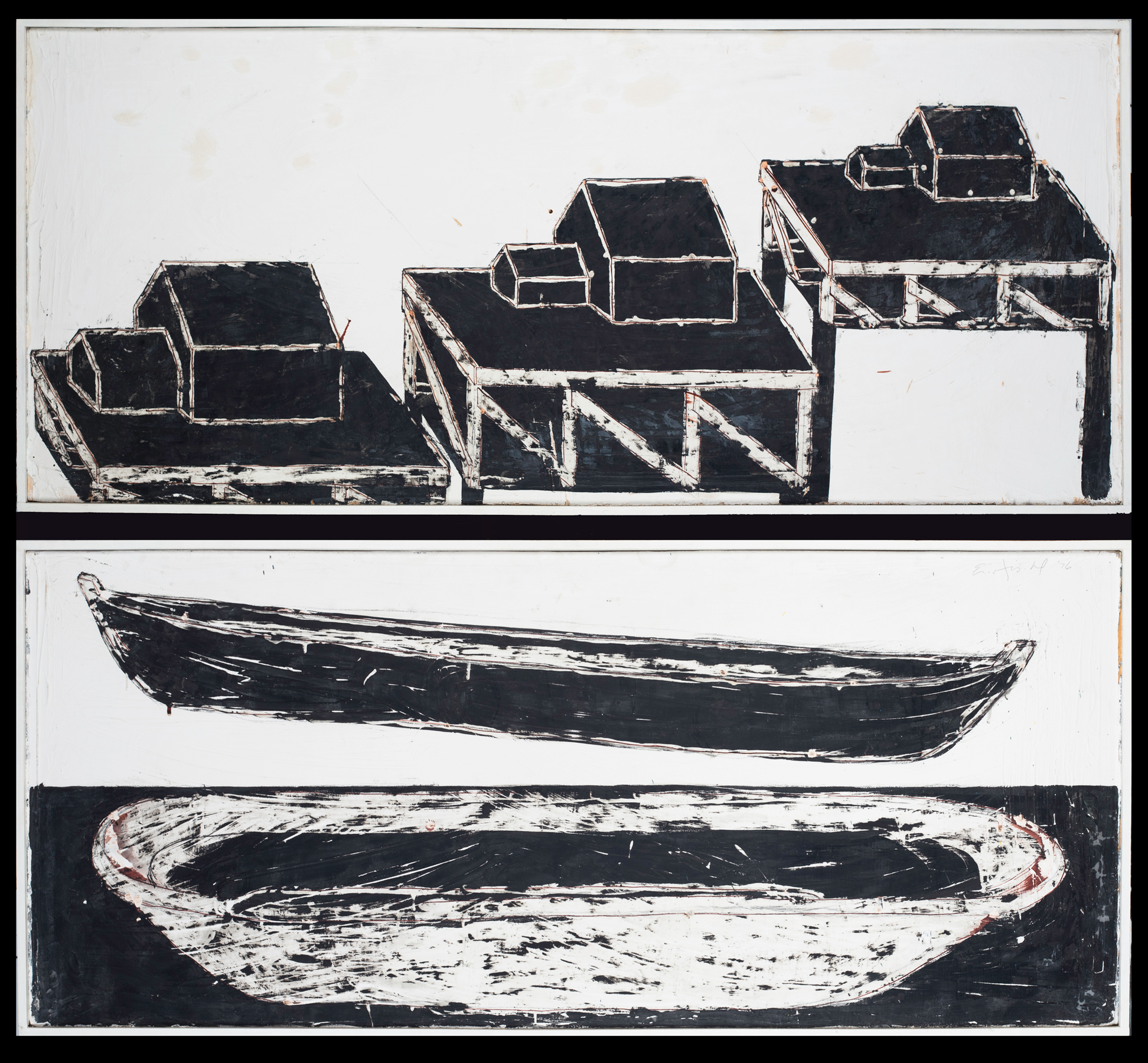Study for Boat and Tub. Maquette for Mural (Two sided), 1976. oil and beeswax on wood, 24 x 48 in.