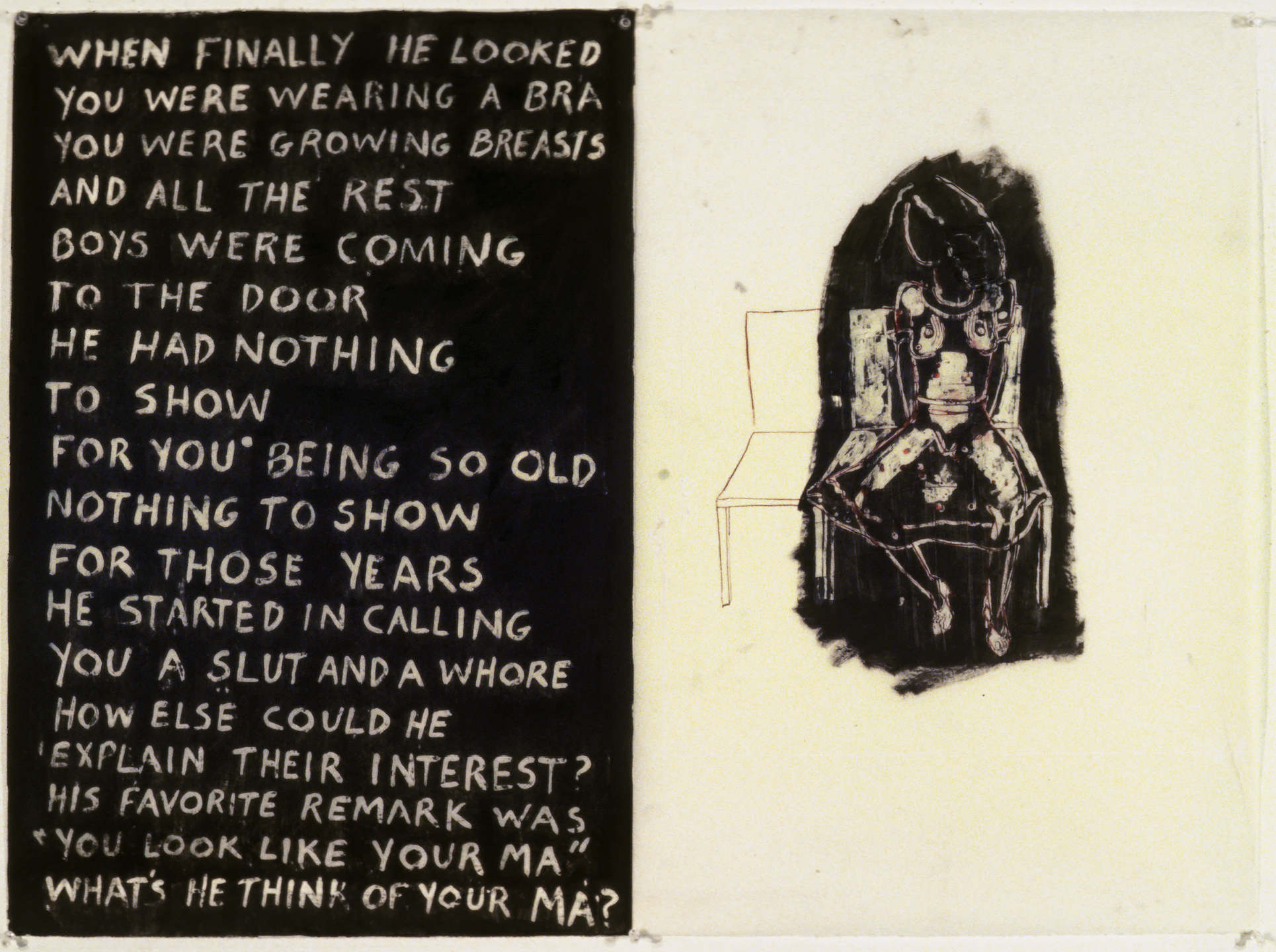 """Unknown, (""""When finally he looked...""""), 1977. oil and wax on paper"""