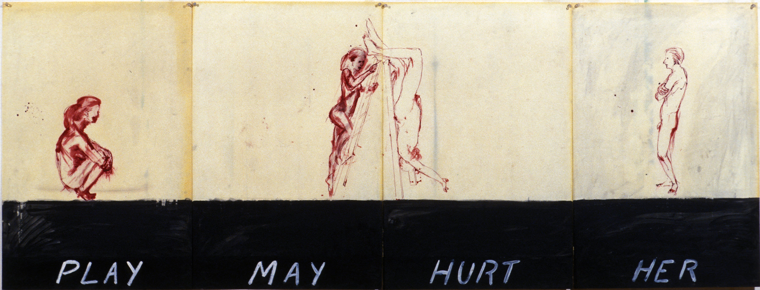 Play May Hurt Her, 1977. oil, paper, wax, pen and ink on paper