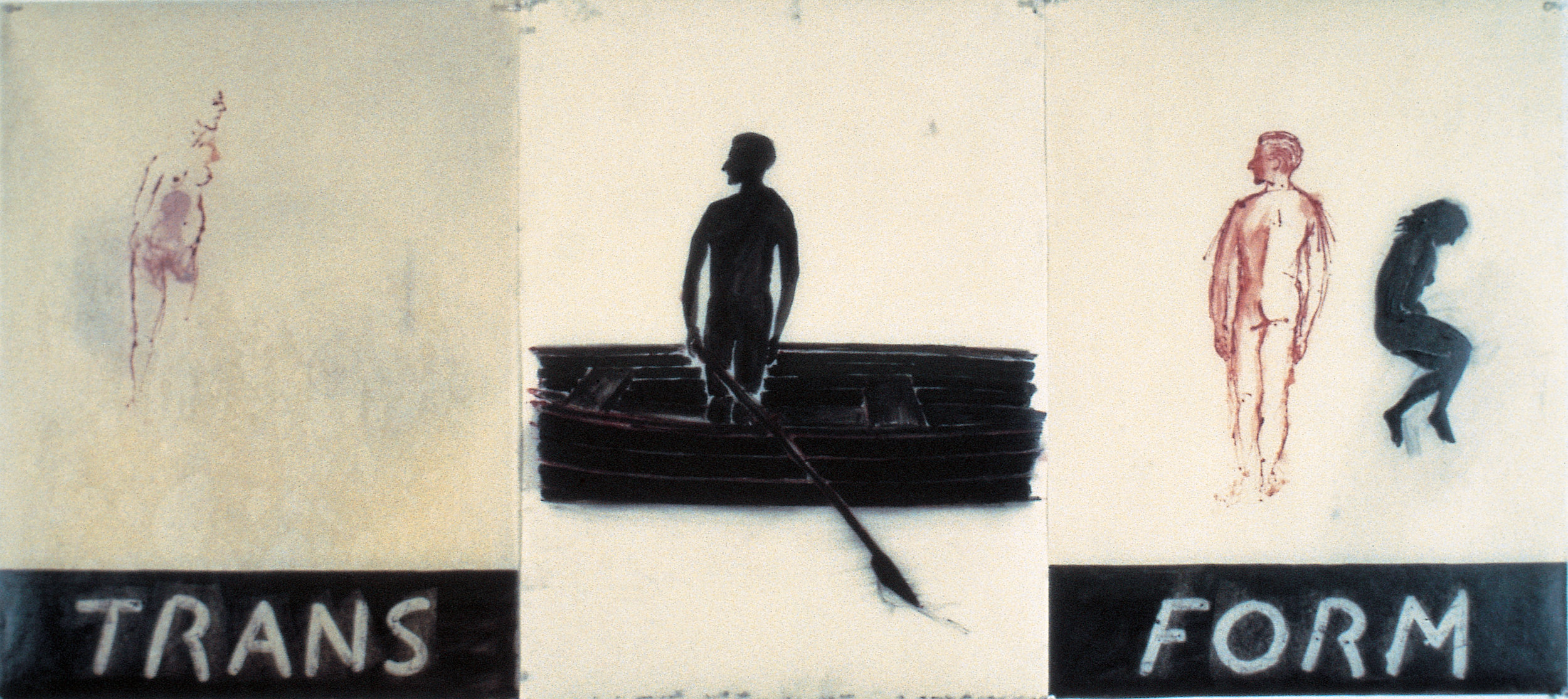 Transform, 1977. ink and oil on paper. 32 x 66 in.