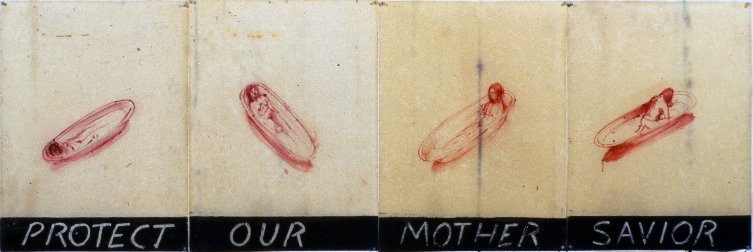Protect Our Mother Savior, 1978. ink and oil on paper. 31 1/2 x 74 in.