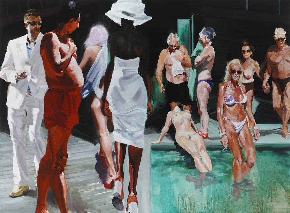 The Miami Scene, 2013. Oil on Linen. 82 x 112.5 in. (208 x 286 cm.)