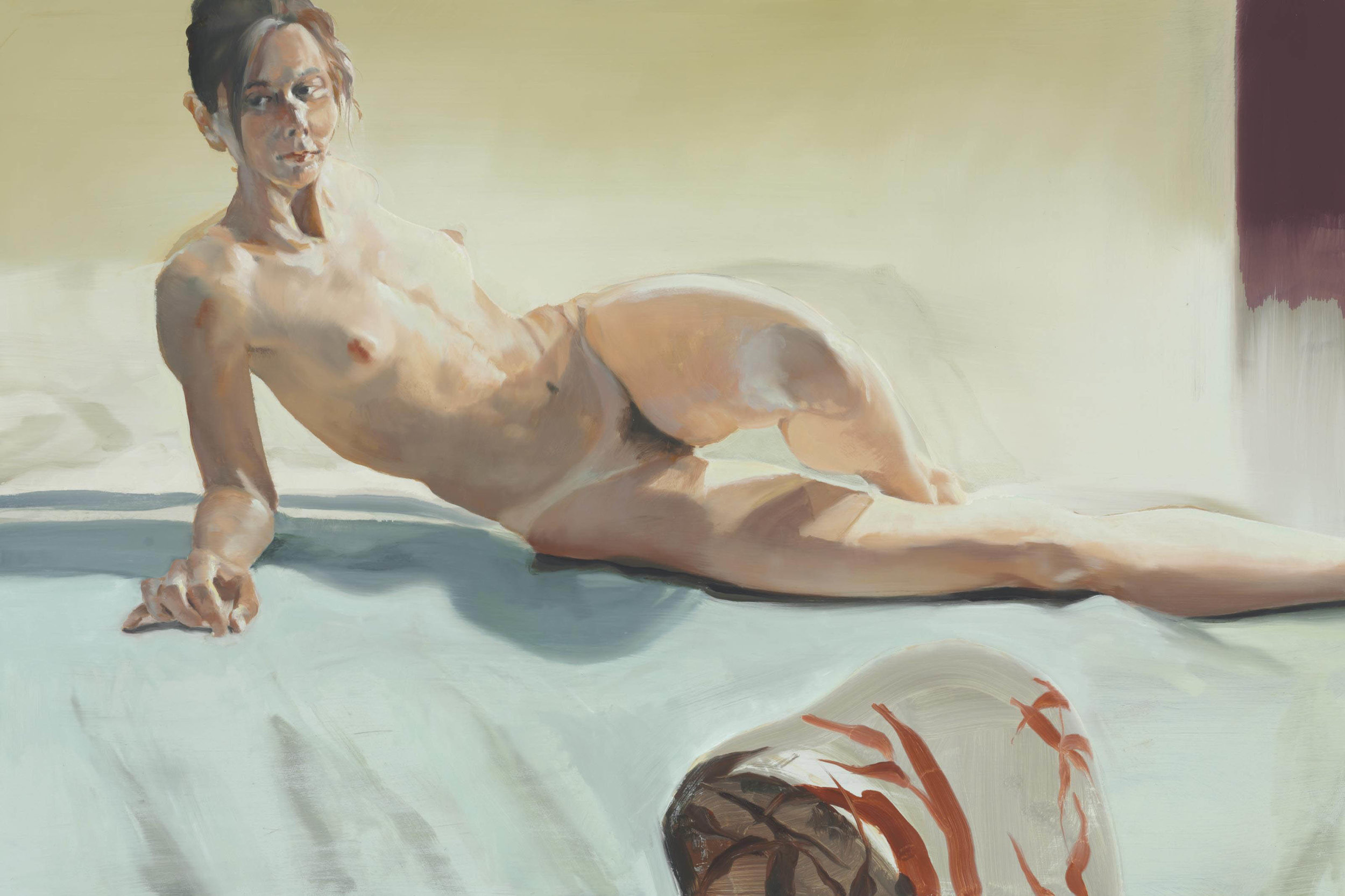 The Bed, The Chair; Stirring, 2000. Oil on linen. 40 x 60 in. (102 x 152 cm)
