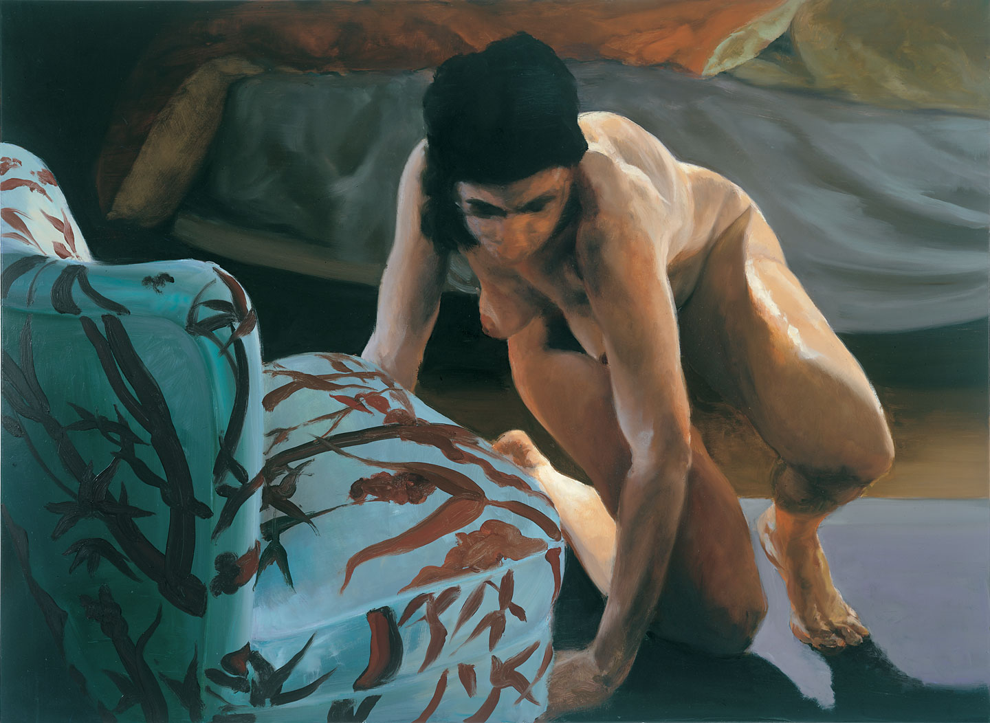 The Bed, The Chair; Hiding, 2001. Oil on linen. 38 x 52 in. (97 x 132 cm)