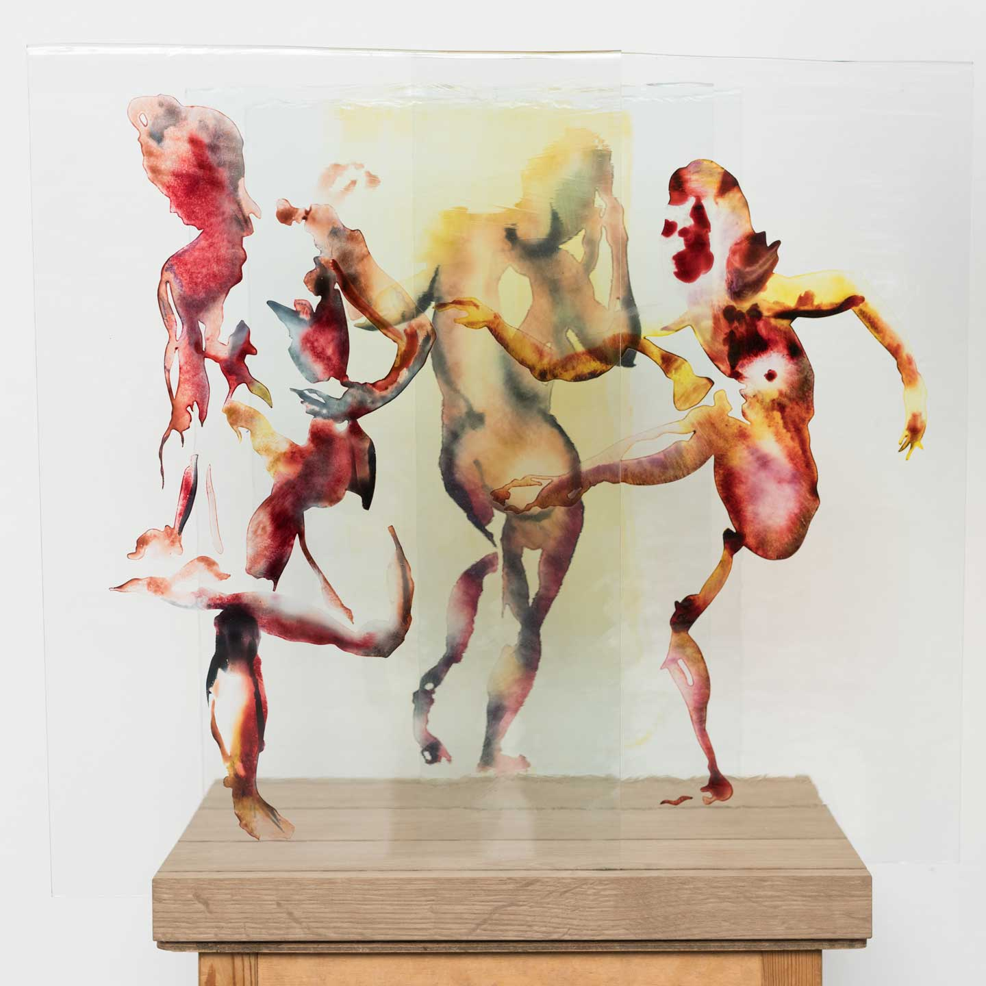 Dancers, 2017. Hand painted antique glass and wood 19.3 x 17.7 x 13.4 inches