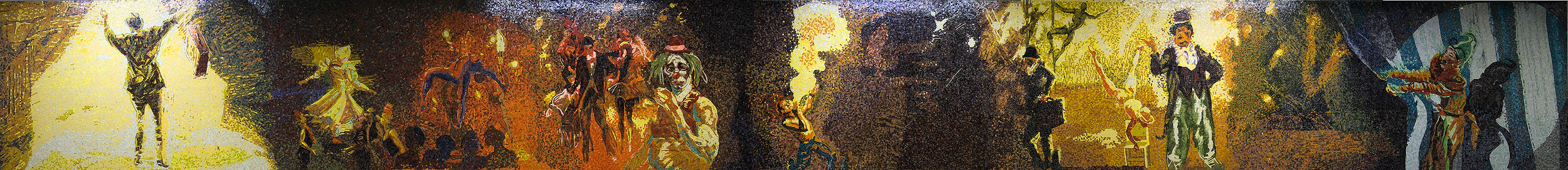 Garden of Circus Delights (subway mosaic), 2001, glass mosaic  - 34th St. Penn Station (main wall), 72 x 60ft in.