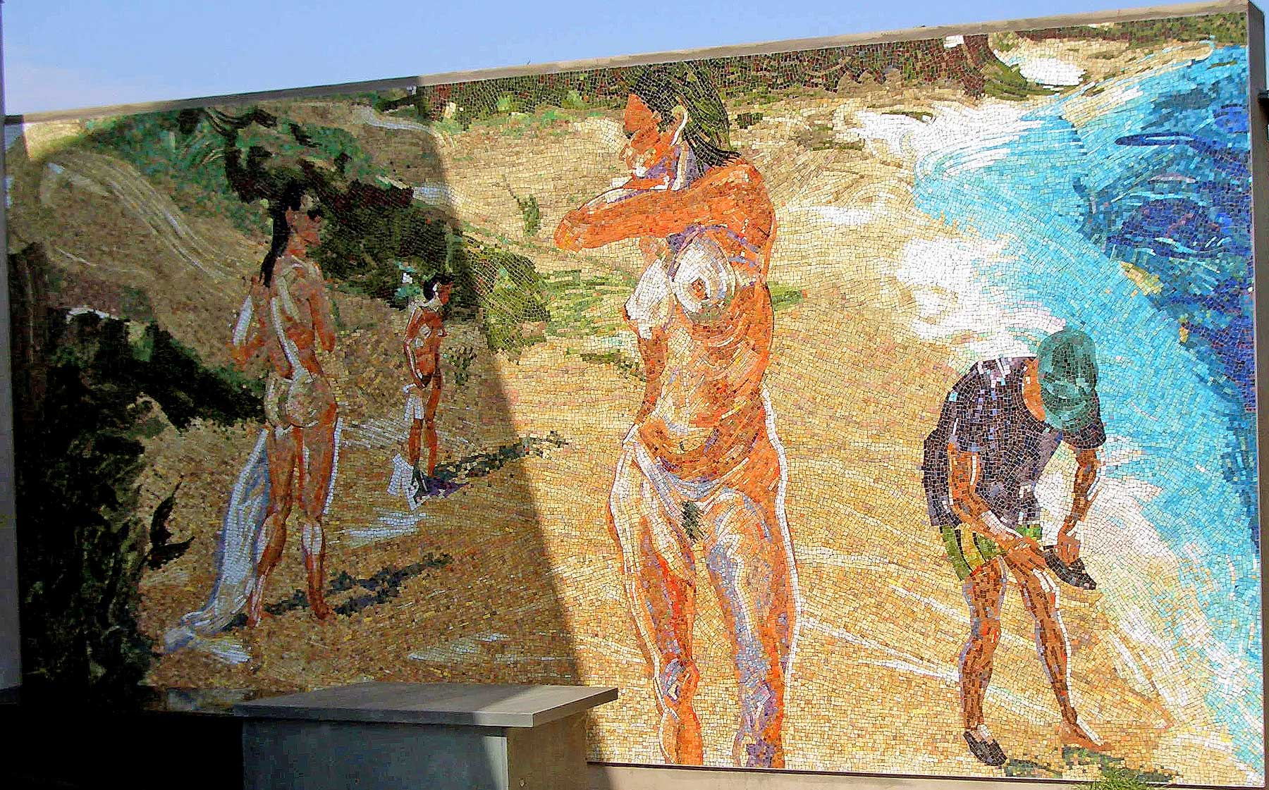 Untitled (Girls at Beach with Man in Green Hat), glass tile mosaic in private residence, 2006