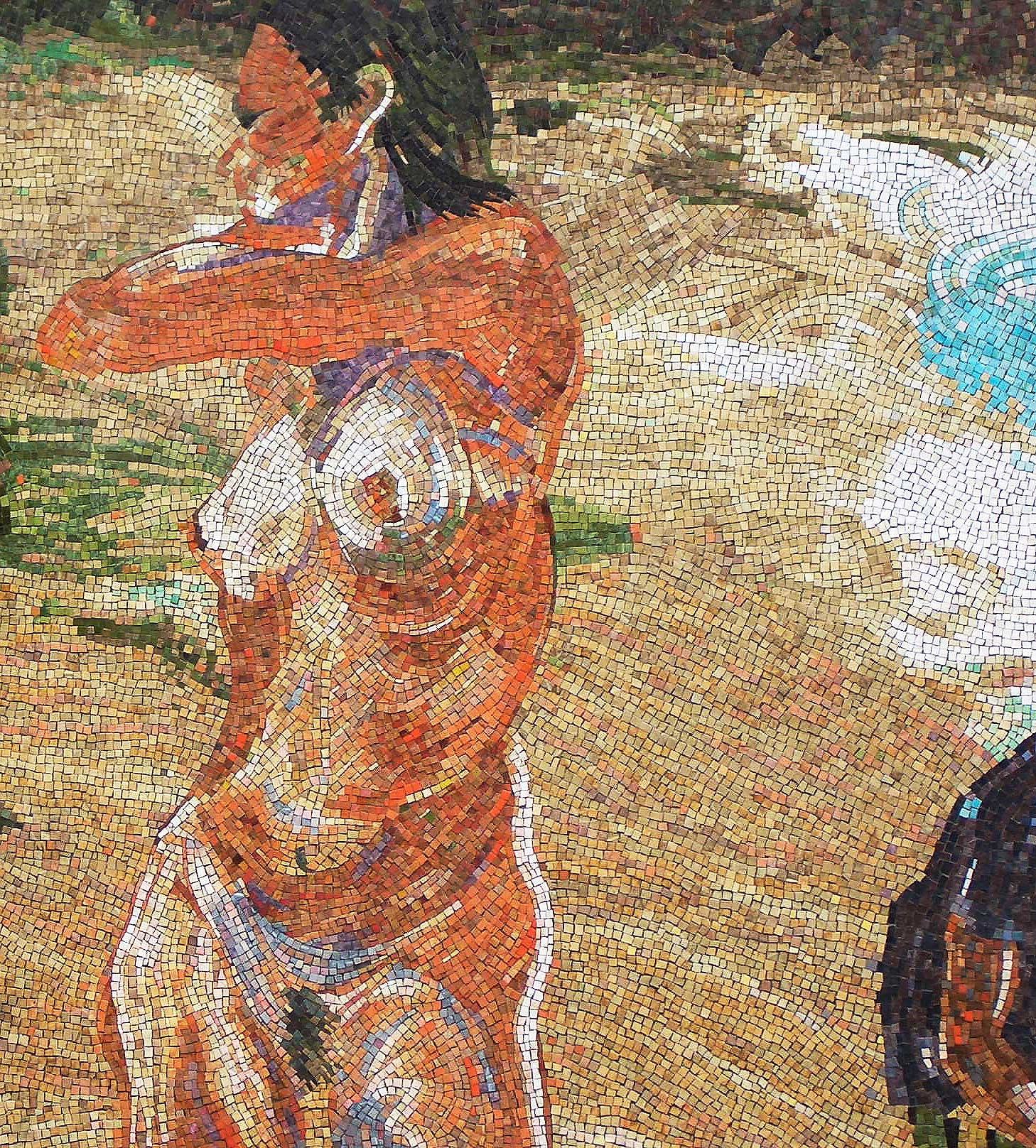 detail from Untitled (Girls at Beach with Man in Green Hat), glass tile mosaic in private residence, 2006