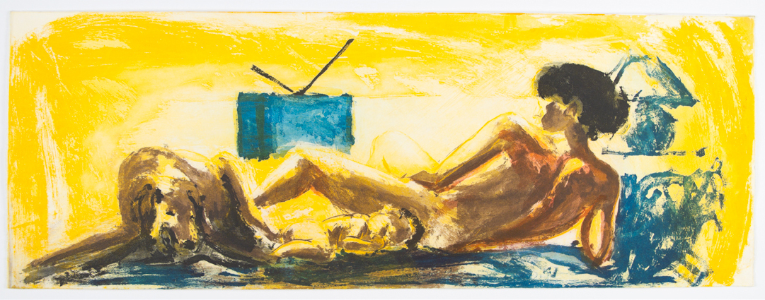 Floating Islands (woman, child, dog, tv), 1985. Aquatint, sugar-lift, dry point & scraping 12 x 32 inches