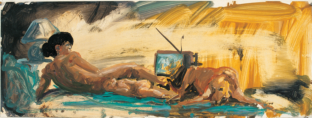 Study for Floating Islands , 1985. Oil on chromecoat Paper 12 x 32 inches