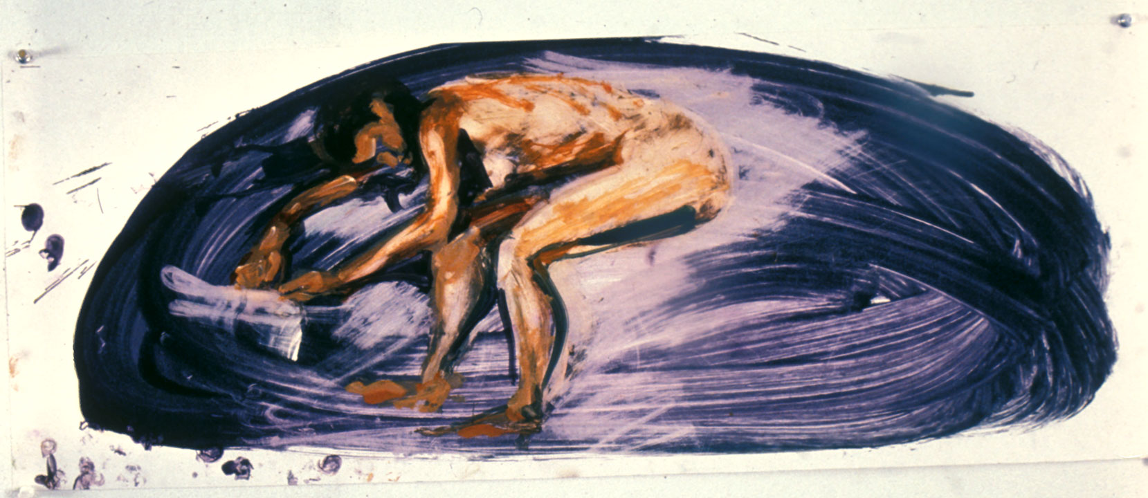 Study for Floating Island, 1985. Oil on chromecoat Paper 12 x 32 inches