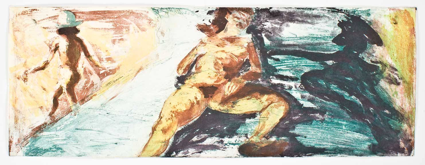 Floating Islands (woman on bed, turning daughter), 1985. Intaglio Print State 01, 12 x 32 inches