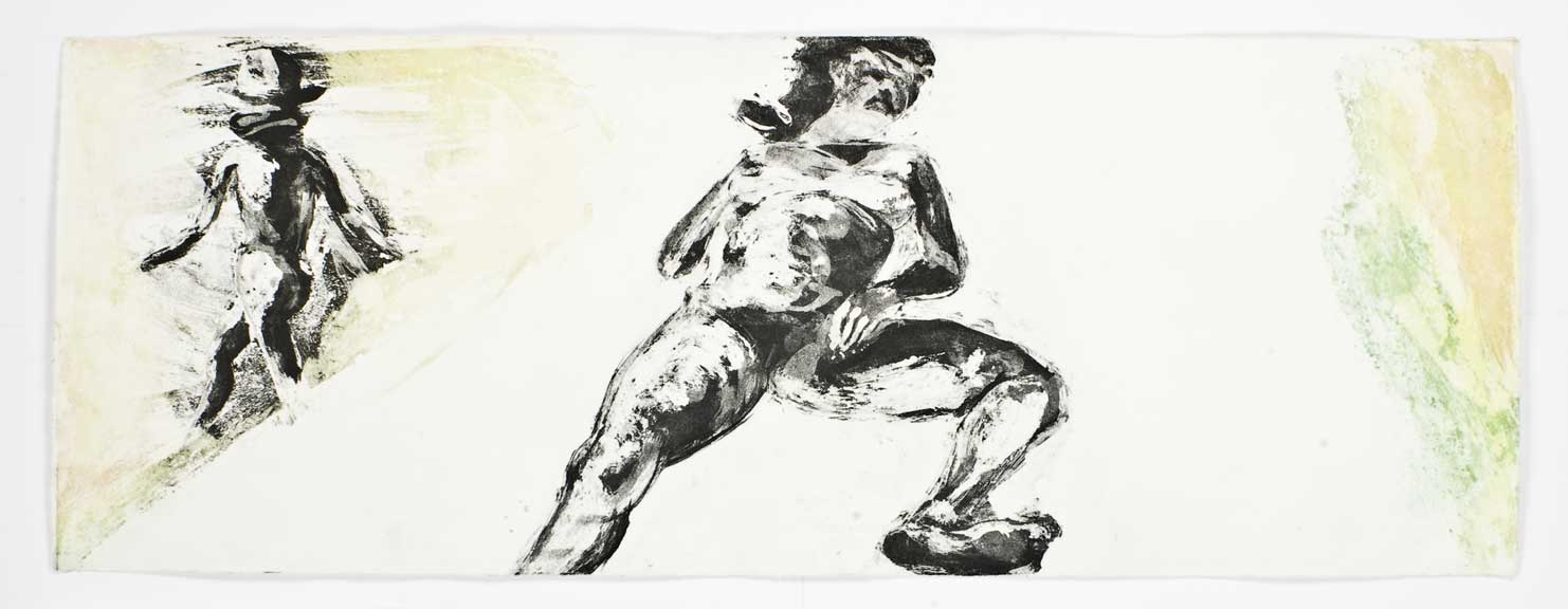 Floating Islands (woman on bed, turning daughter), 1985. Intaglio Print State 04, 12 x 32 inches