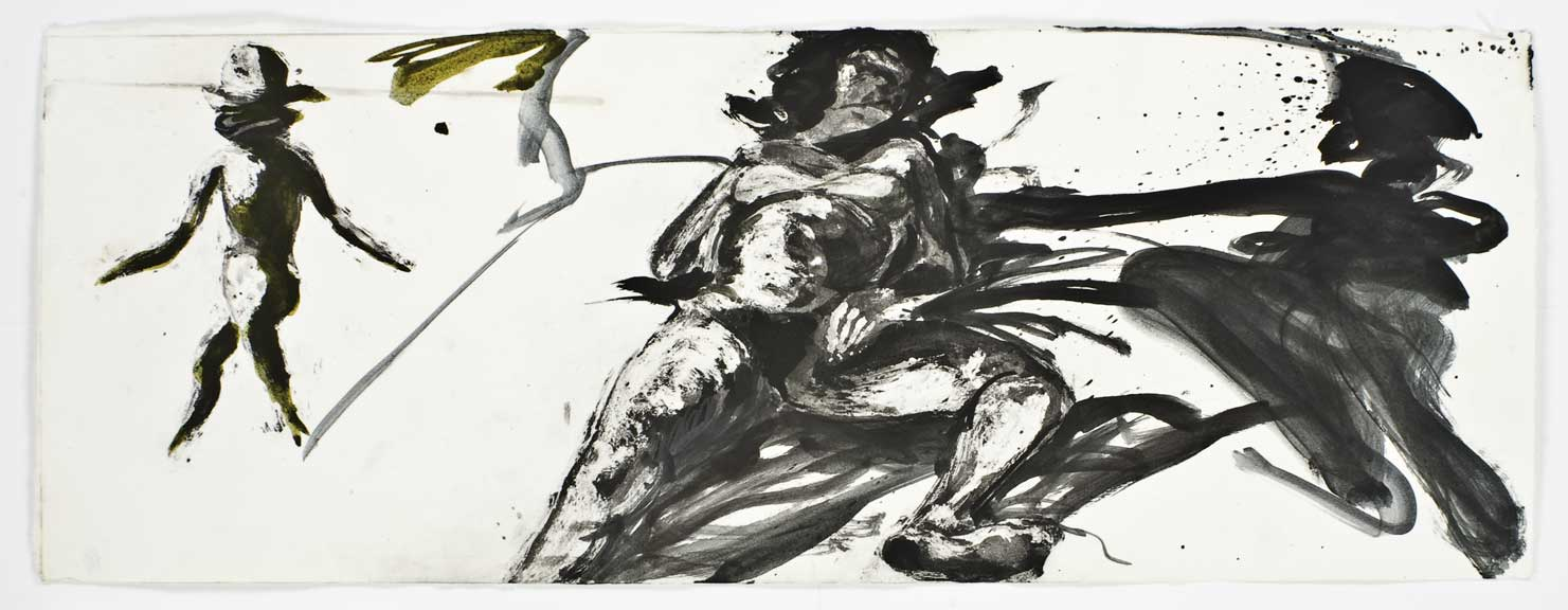 Floating Islands (woman on bed, turning daughter), 1985. Intaglio Print State 05, 12 x 32 inches