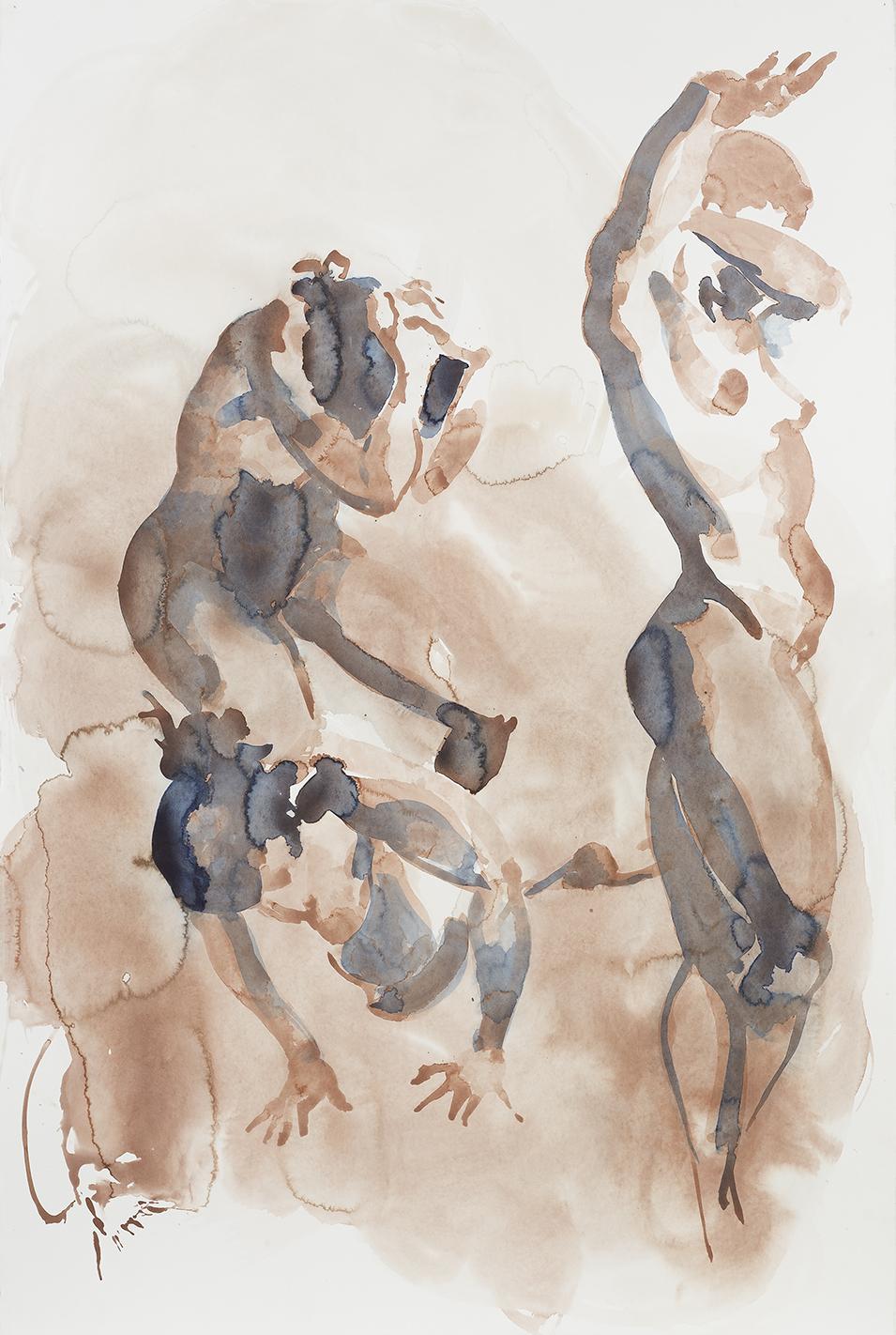 "Falling Figure (Cringing/Cowering), 2001, watercolor on paper, 59.75"" x 40.25"""