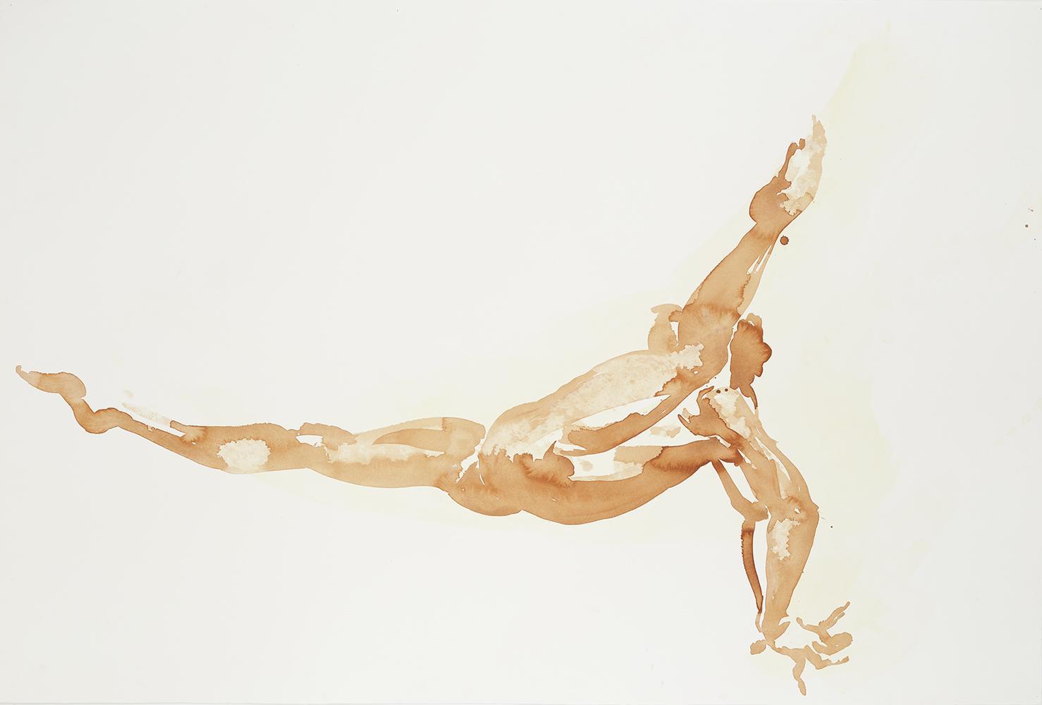 "Falling Figure #1, 2001, watercolor on paper, 40.25"" x 59.75"""