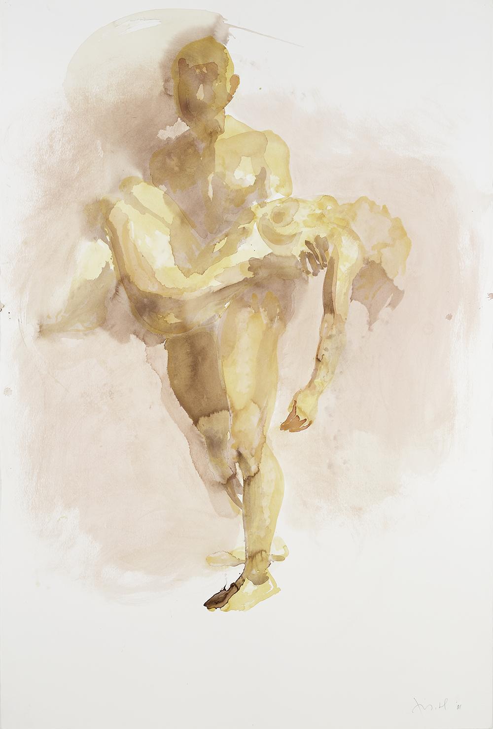 """Falling Figure (Dead), 2001, watercolor on paper, 59.75"""" x 40.25"""""""