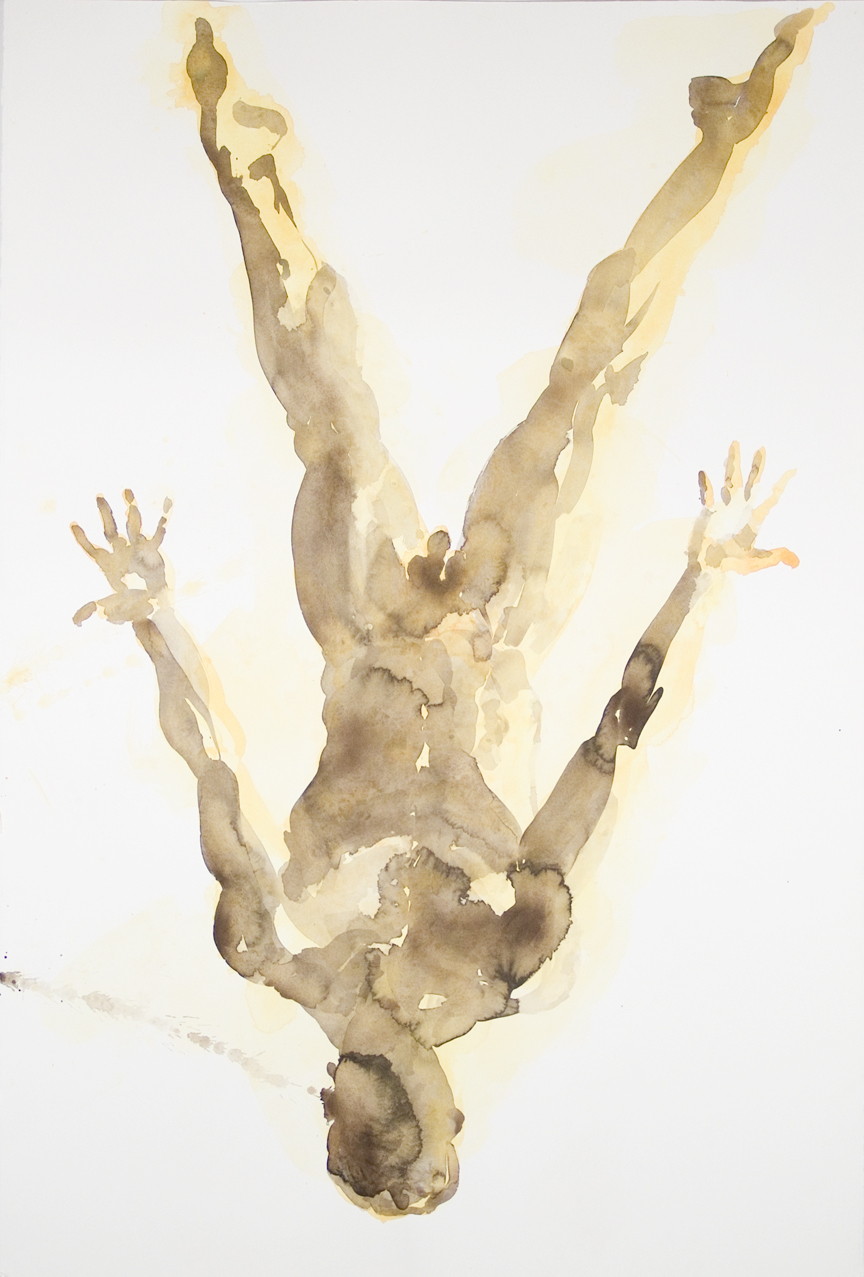 "Falling Figure #2, 2001, watercolor on paper, 59.75"" x 40.25"""