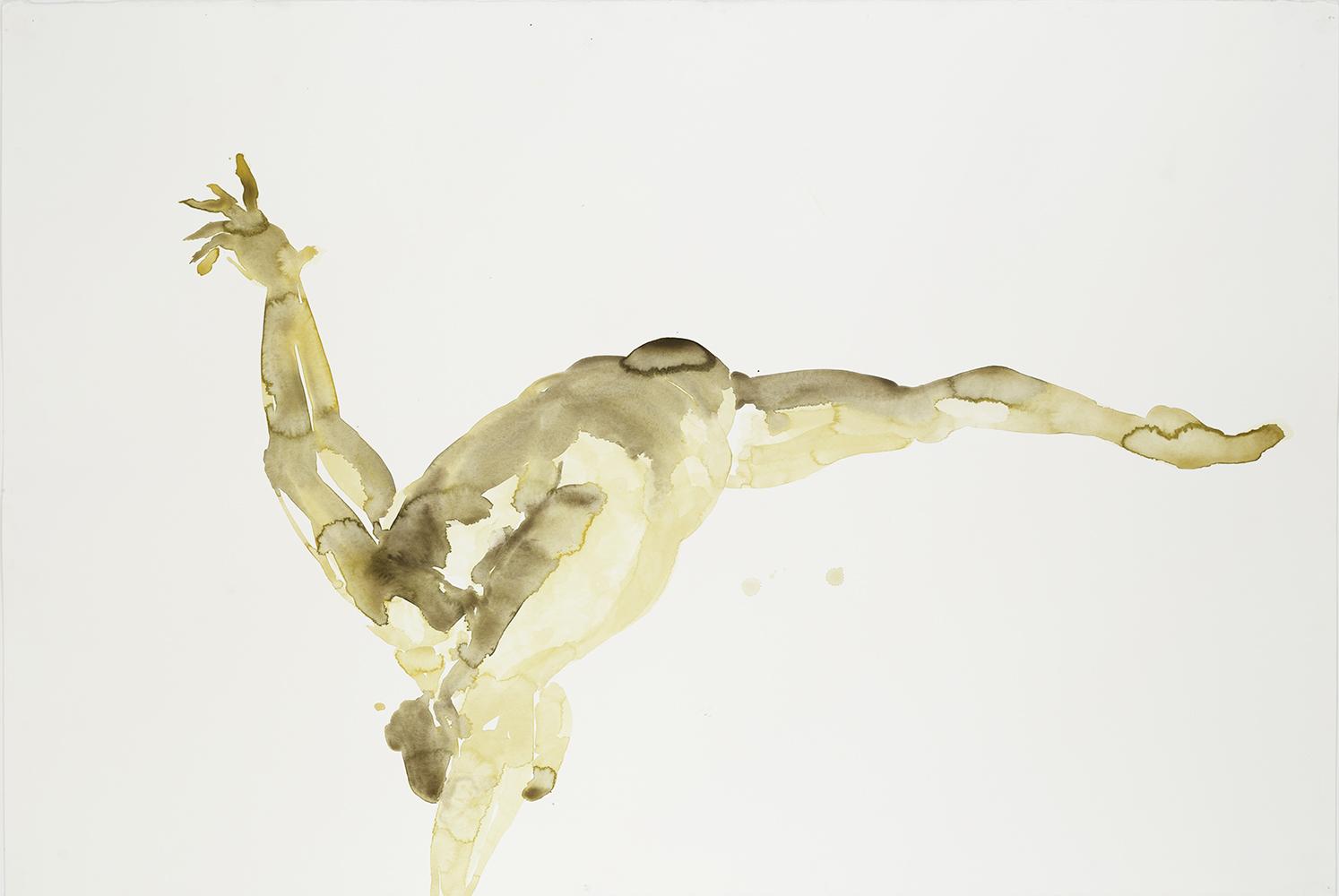 "Fallling Figure #3, 2001, watercolor on paper, 40.25"" x 59.75"""
